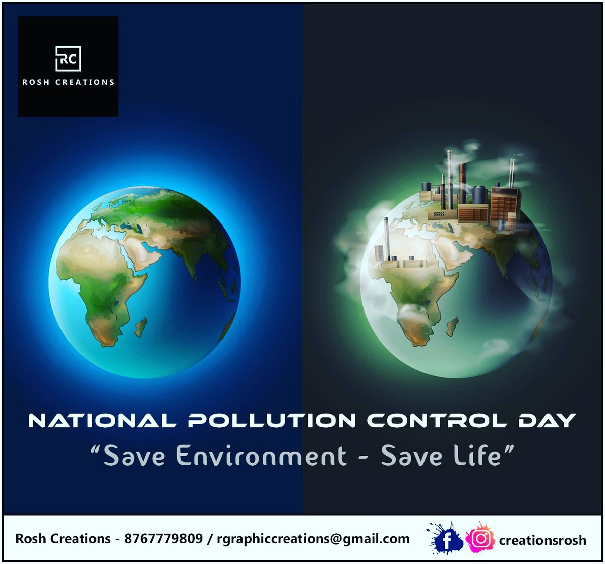 #NationalPollutionControlDay : It's Not That Hard!  Plant Trees Save Energy Avoid Plastic Take a walk for short distances  *With these simple SMALL steps, we can make a BIG change.*  #roshcreations @creationsrosh #BeResponsible #pollutioncontrolday #pollution #pollutionfree