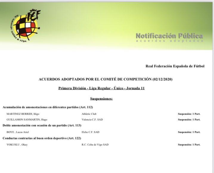 #ValenciaCF 🦇🏆  El Comité de Competición sanciona a @HGuillamon con un partido por la acumulación de tarjeta amarillas  ❌No hay ninguna referencia del Comité a una supuesta provocación para la tarjeta que vio en el #ValenciaAtleti