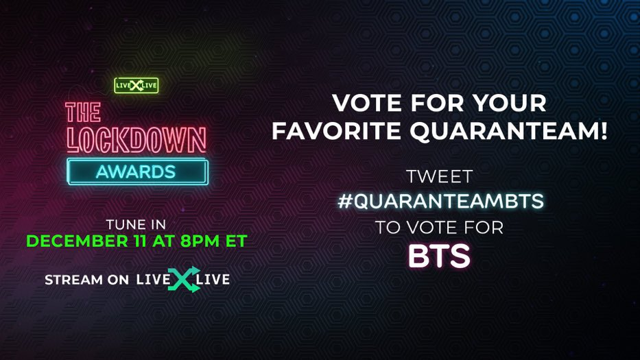 @BeccaIsMe7177 @livexlive I am here because of @BTS_twt  #QuaranteamBTS in #TheLockdownAwards on @LiveXLive #BTS 💜