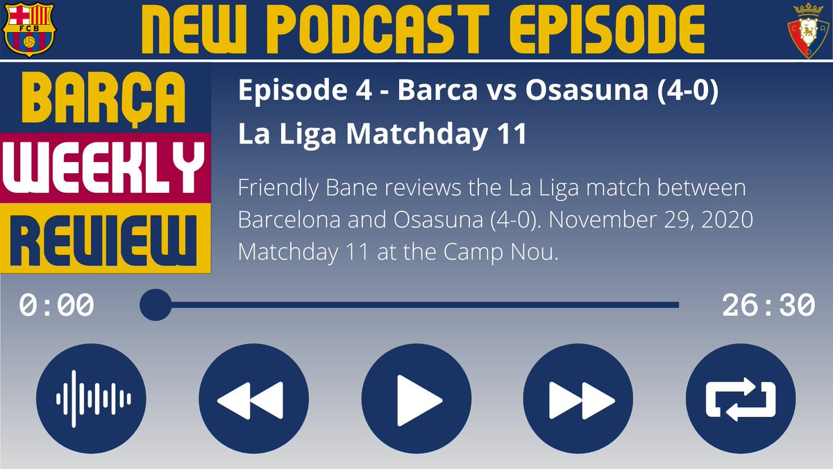 "🎙️ Episode 4 - Barca vs Osasuna (4-0)  Available NOW on your podcast app. Search ""Barca Weekly Review Podcast"" or find the direct link for your podcast app here: https://t.co/FVff5oXg9R  Follow the podcast: @BarcaReviewPod https://t.co/bR6a5GtSO2"