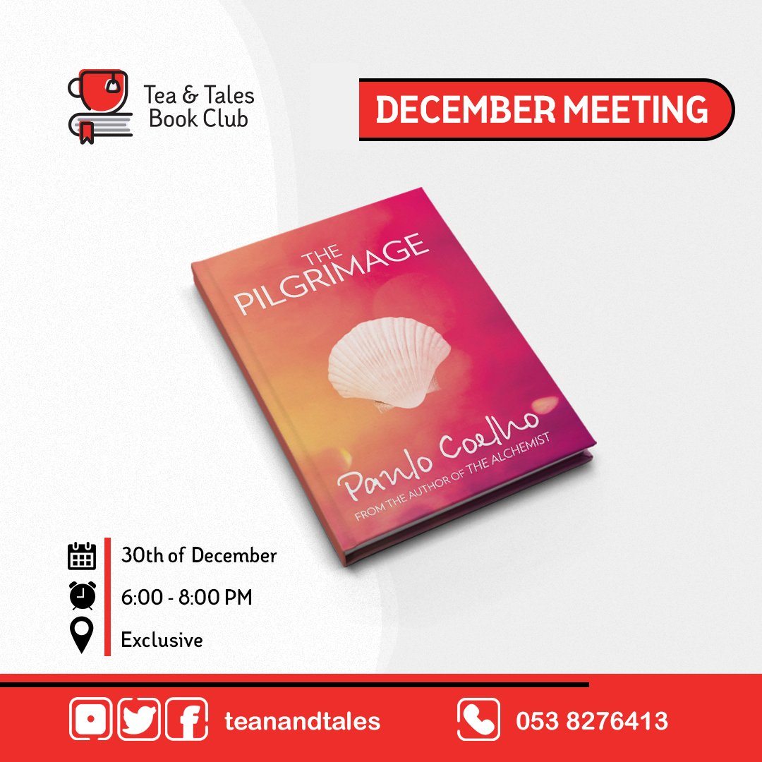 #December book | 📖  #ThePilgrimage by @paulocoelho See you on Wednesday the 30th of December. Due to Covid-19, the meeting is exclusive for club members only. Happy reading 📙 ☕️  #BookDiscussion, #Fiction, #Philosophy, #Literature