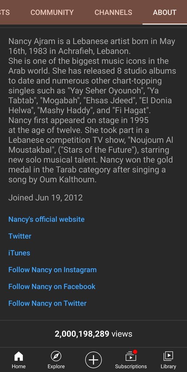 تحقق النجمة نانسي عجرم رقماً قياسياً جديداً حيث تعدى مجموع مشاهدات قناتها الرسمية على اليوتيوب اكثر من ٢ مليار مشاهدة 👏🏻 الف مبروك. @NancyAjram
