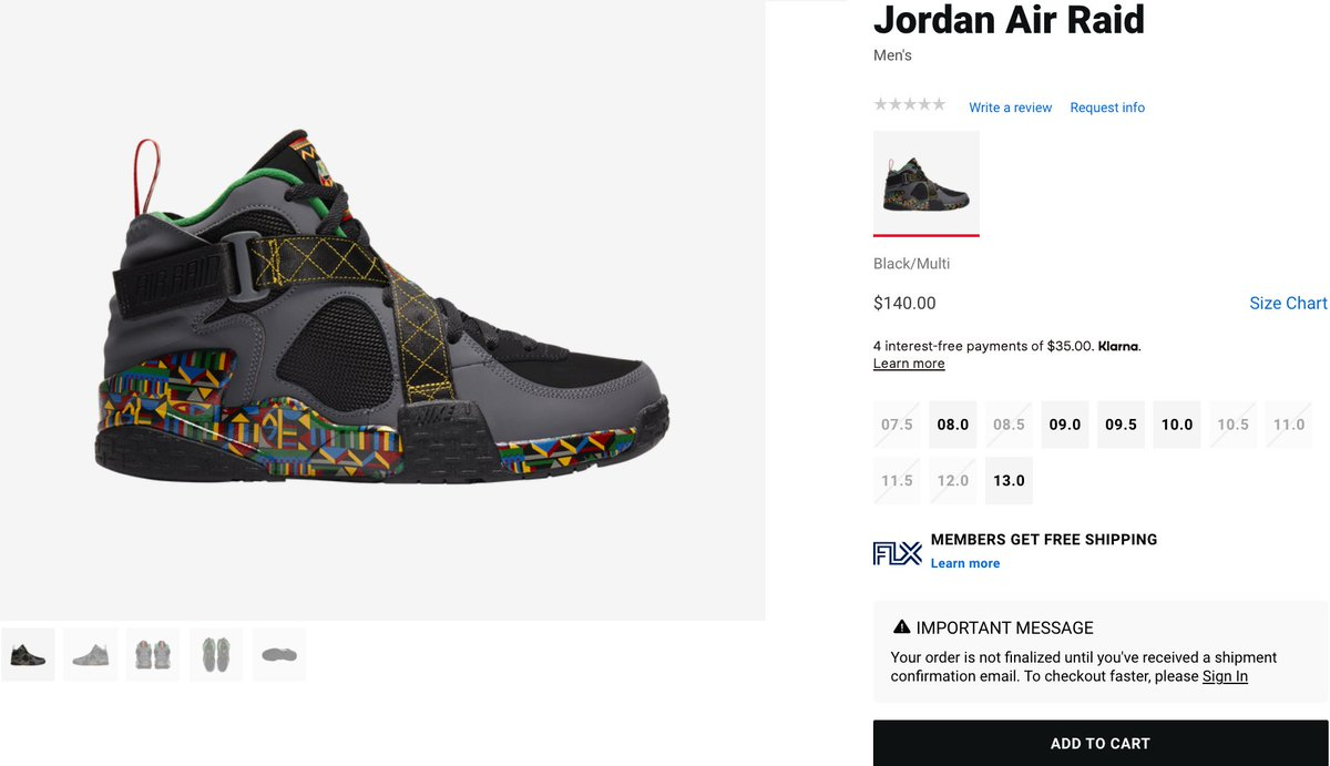 Couple of sizes adding Nike Air Raid 'Live Together Play Together' =  2