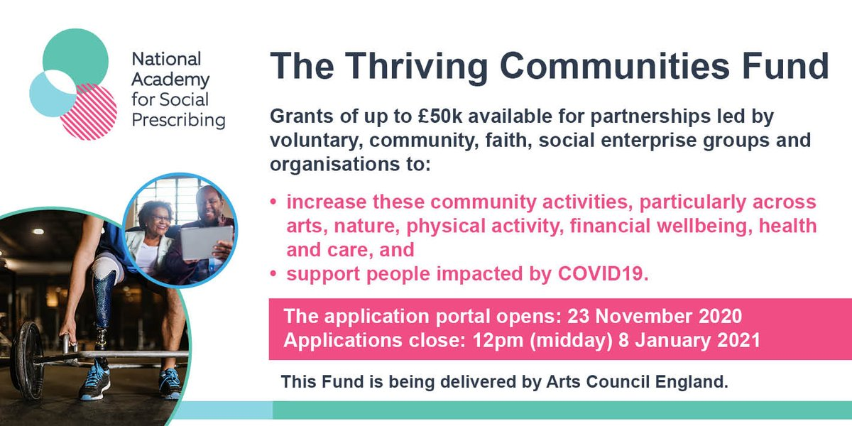 The #ThrivingCommunities Fund will grant up to £50k to partnerships led by VCFSE groups to increase these community activities & support for people impacted by COVID19.   Apply from 23 Nov 2020 - 8 Jan 2021:   https://t.co/aOx51Ra553  @NASPTweets @ace_national