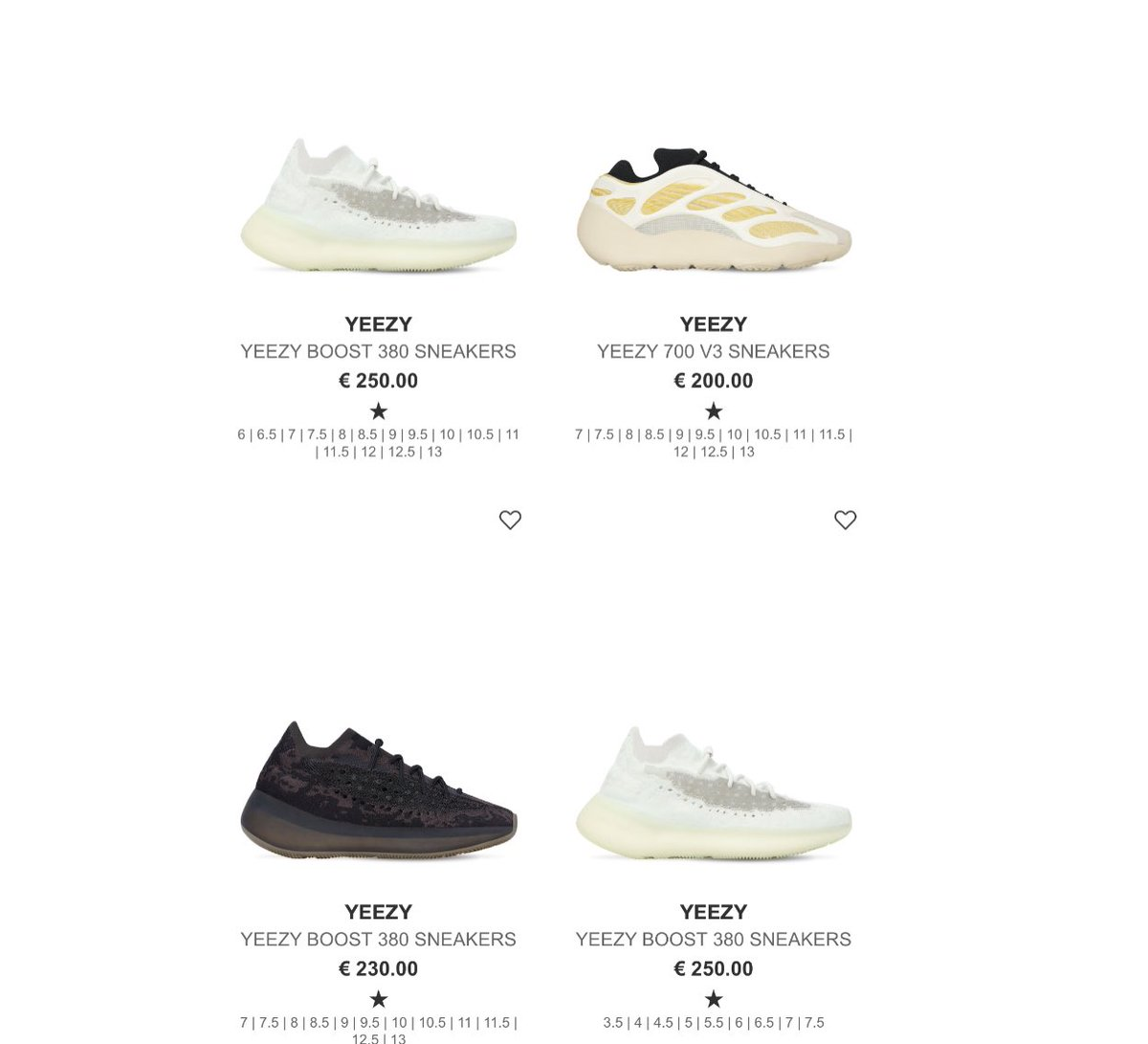 Few Yeezy 380's and 700    #AD