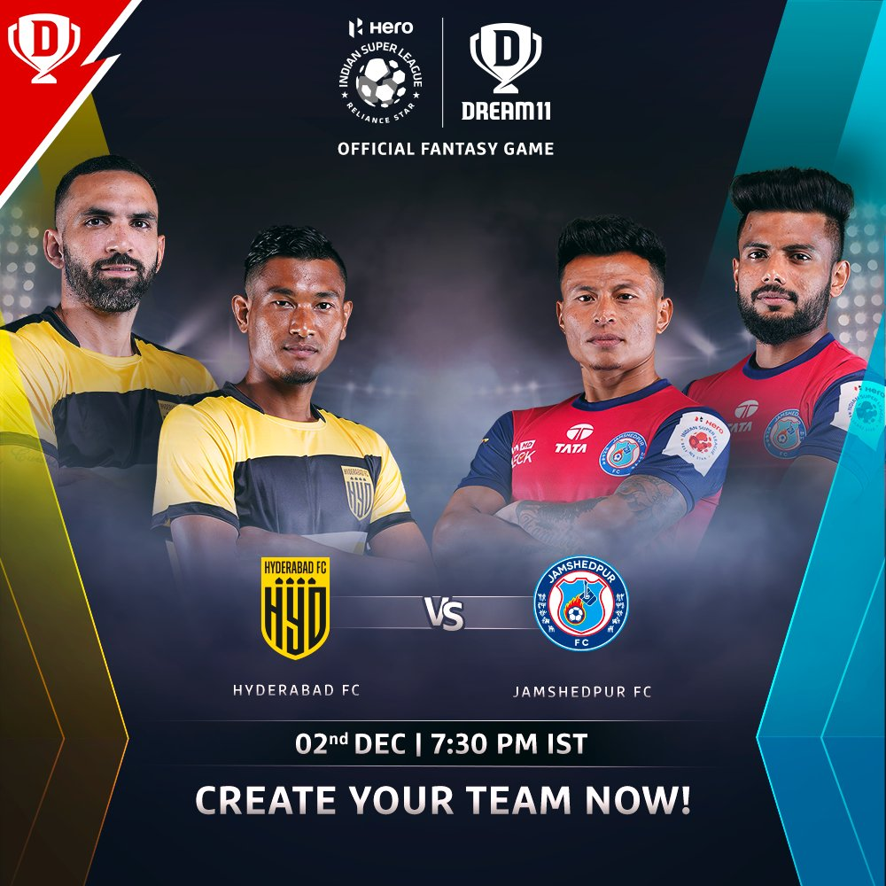 After getting off to a decent start in the #HeroISL, @HydFCOfficial are set to face @JamshedpurFC tonight ⚽  Download the app and make your #Dream11 now. Click: . #LetsFootball #HFCJFC @IndSuperLeague