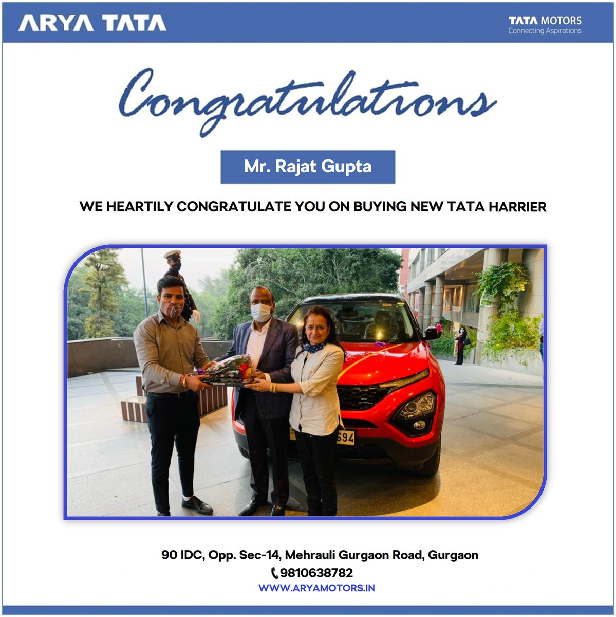 #Congratulations Mr. Rajat Gupta for all new Tata HARRIER. Thanks for being a valued customer of #AryaTata. We are happy to serve you. Thanks again and stay connected with us. . . #HappyCustomer #HappinessDelivered #Celebrations  @TataMotors_Cars  #TataHarrier #Harrier #AboveAll