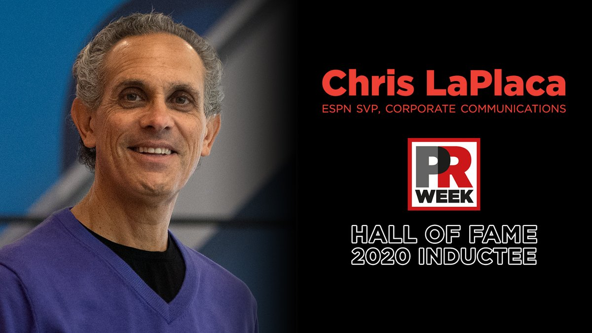 Congratulations to 2020 #PRWeekHallOfFame inductee, @espn_chris  LaPlaca, ESPN SVP, Corporate Communications has been recognized for his outstanding & revolutionary contributions to the communications industry  More on his 40-year career at ESPN: