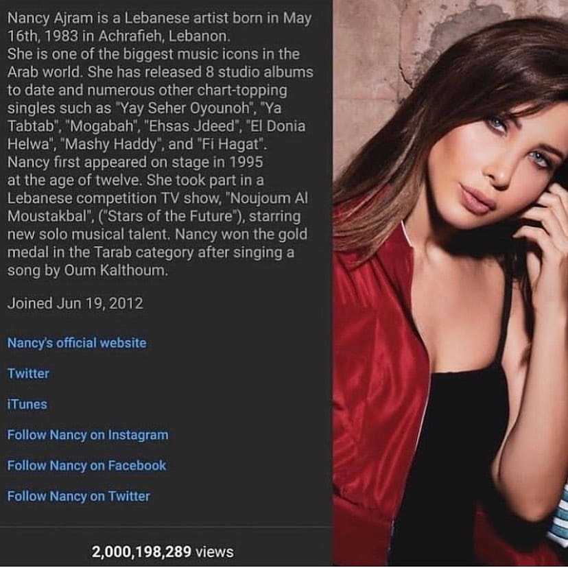 Every day, we celebrate with our  wonderful star Nancy Ajram a new  success and a new achievement. And Today we celebrate a new record Congratulations, 2 billion views on  your YouTube channel🎉🥇🏆🔝 @NancyAjram