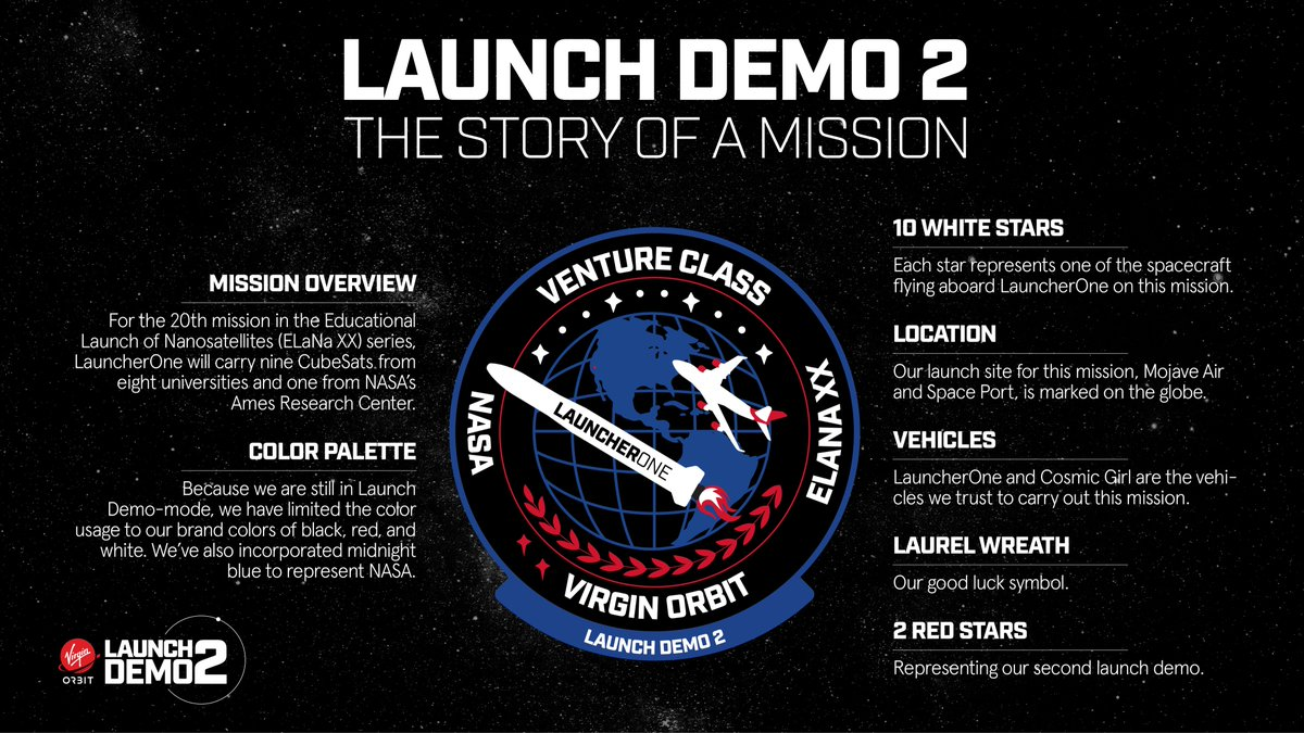 They say a photo is worth a thousand words... but what about a mission patch?   Our #LaunchDemo2 patch was designed with a lot of heart, reflecting our close relationship with @NASA, honoring the payloads flying onboard LauncherOne & expressing our love for all things air launch.