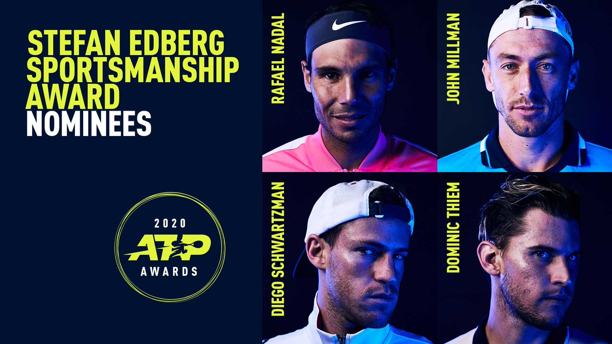 Stefan Edberg Sportsmanship Award Nominees:   🇪🇸 Rafael Nadal 🇦🇺 John Millman 🇦🇷 Diego Schwartzman 🇦🇹 Dominic Thiem  #ATPAwards https://t.co/4Xk7Wf4N70