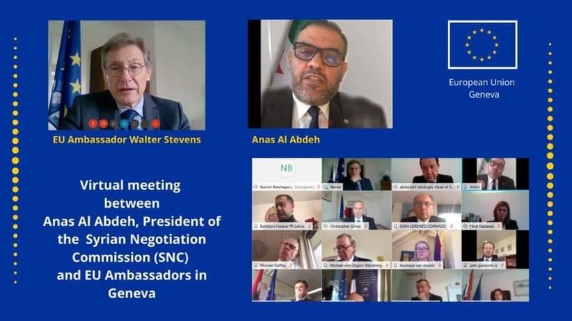 رئيس هيئة التفاوض السورية يجتمع مع سفراء دول الاتحاد الأوروبي في #جنيف  #سوريا #سورية  @AlabdahAnas