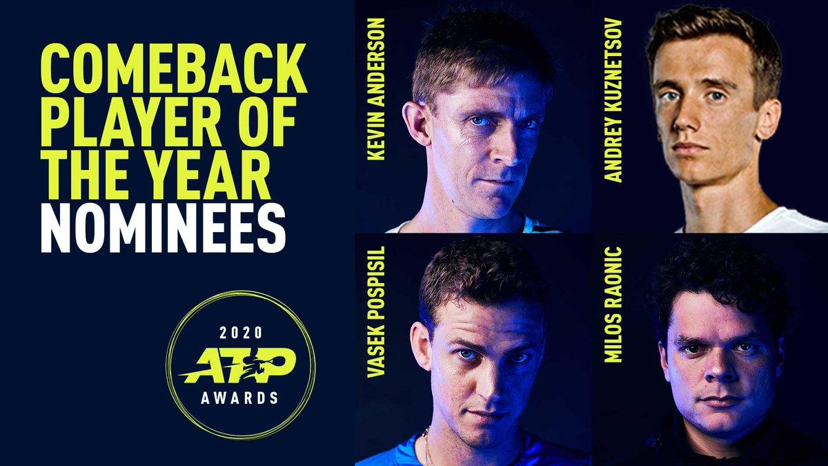 Comeback Player of the Year Nominees:  🇿🇦 Kevin Anderson 🇷🇺 Andrey Kuznetsov 🇨🇦 Vasek Pospisil 🇨🇦 Milos Raonic   #ATPAwards https://t.co/DCY0uTz3Jr