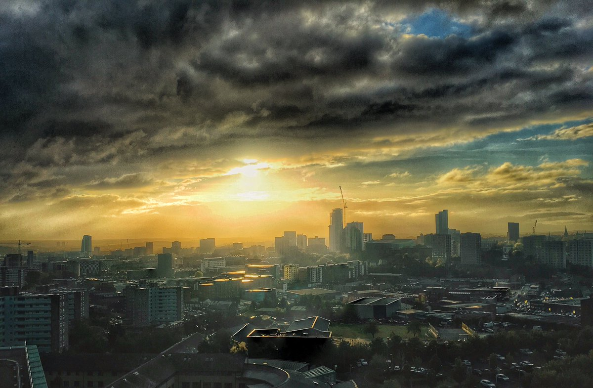 """""""My entry to @RMetS #StormHour #POTW competition:"""" taken after a stormy day looking out over Leeds City Centre from St James's Hospital."""