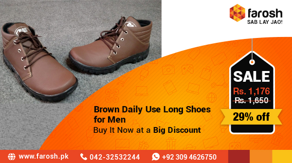 Brown Daily Use Long Shoes for Men Buy it now at a big discount Limited offer Hurry-up  Shop now:   #FaroshPK #ecommerce #fashion #Shoes #Browns #buy  #purchase