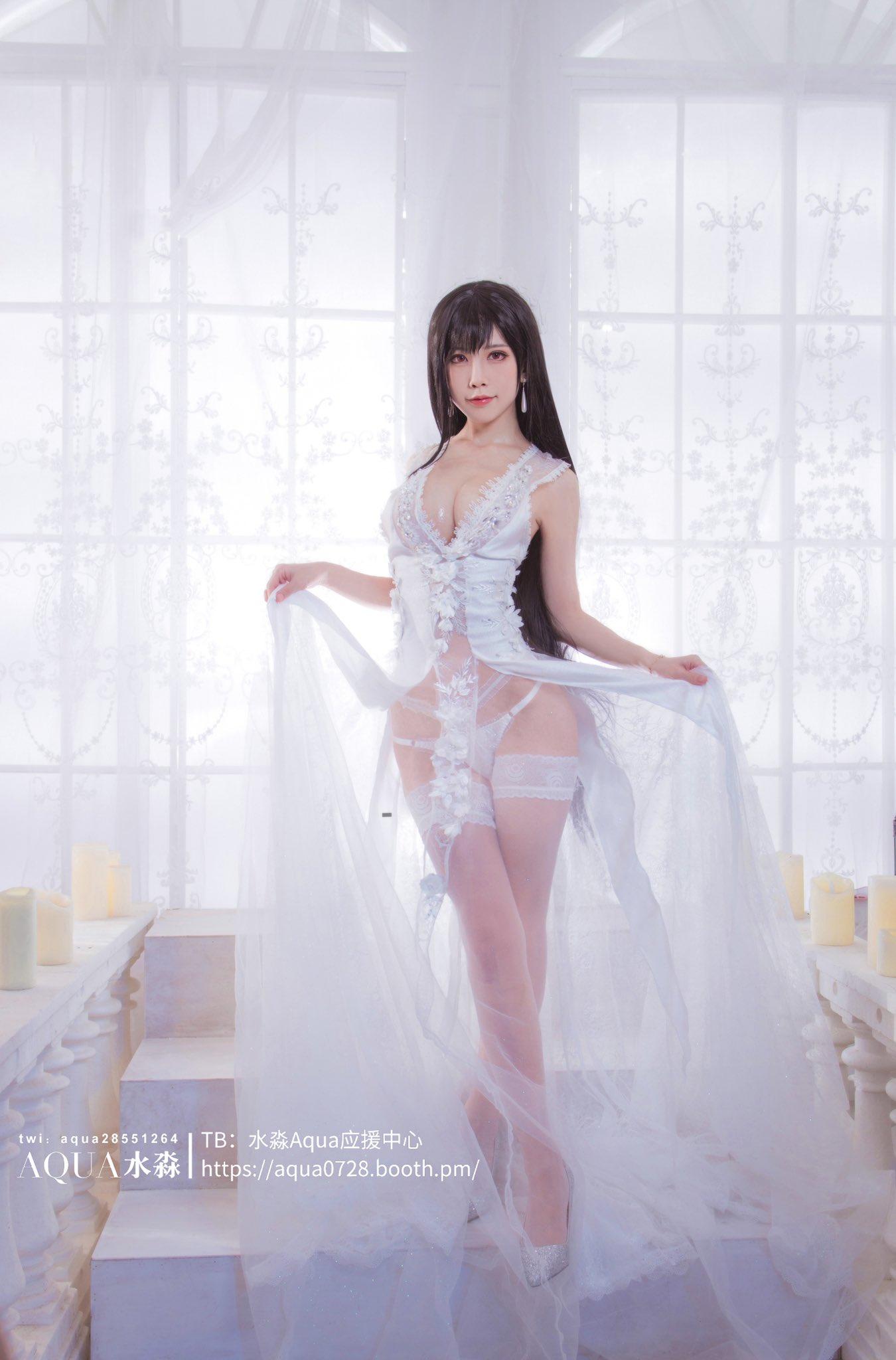 水淼 Aqua Tifa Wedding Dress Cosplay