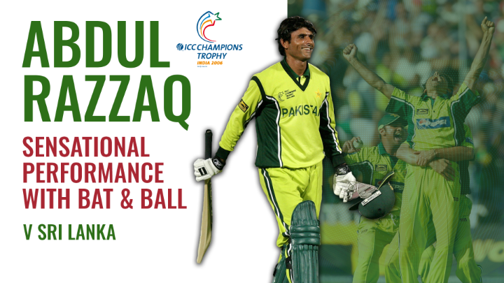 🇵🇰 During the 2006 ICC Champions Trophy, Abdul Razzaq tore through Sri Lanka, taking 4️⃣ wickets before smashing 38* from 24 balls 🔥   To help celebrate his birthday, watch that special performance 🎥