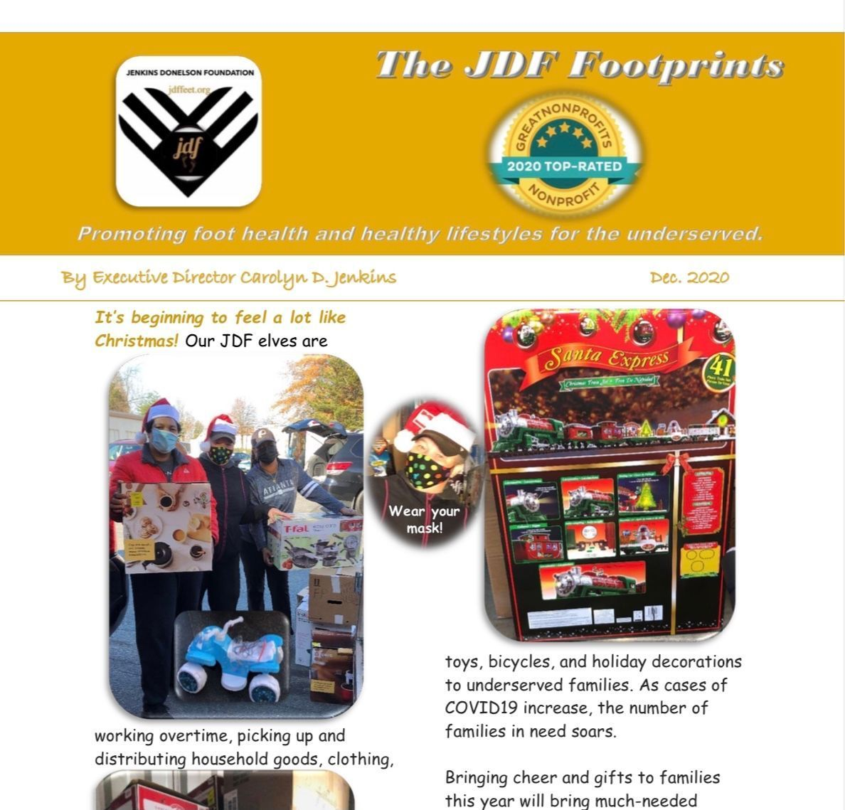 JDF elves are busy making deliveries to the #underserved for the #holidays. See our cute pix & quick story in the Dec The JDF Footprints.Text 2020DB to 44-321 to #donate. #Christmas #WednesdayMorning #WednesdayMotivation #wednesdaythought #CaptureKindness