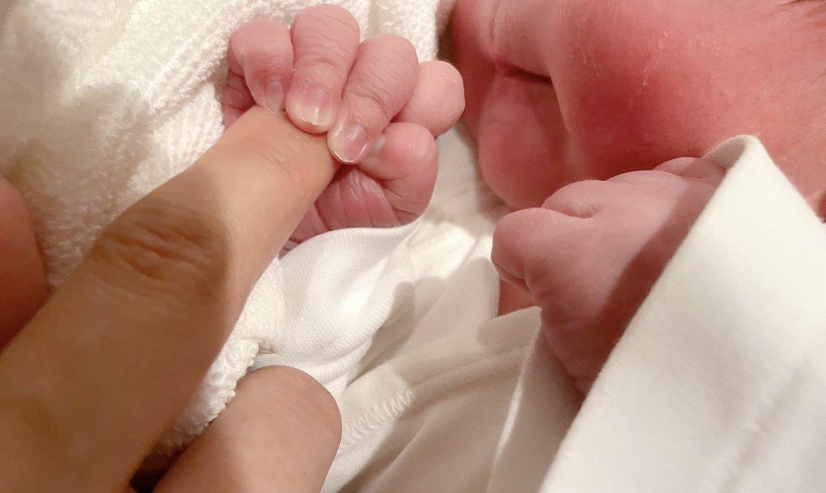 出産ツイートにいいねや温かいメッセージをくださった方、ありがとうございます。嬉しく読ませて頂いてます。満身創痍で(特に股がですが…)ひとつひとつにお返事出来ないのですが、さっき撮った写真を置いておきます。新生児、いい匂いで、ほっぺは生八つ橋、おてては求肥みたいな触り心地です。