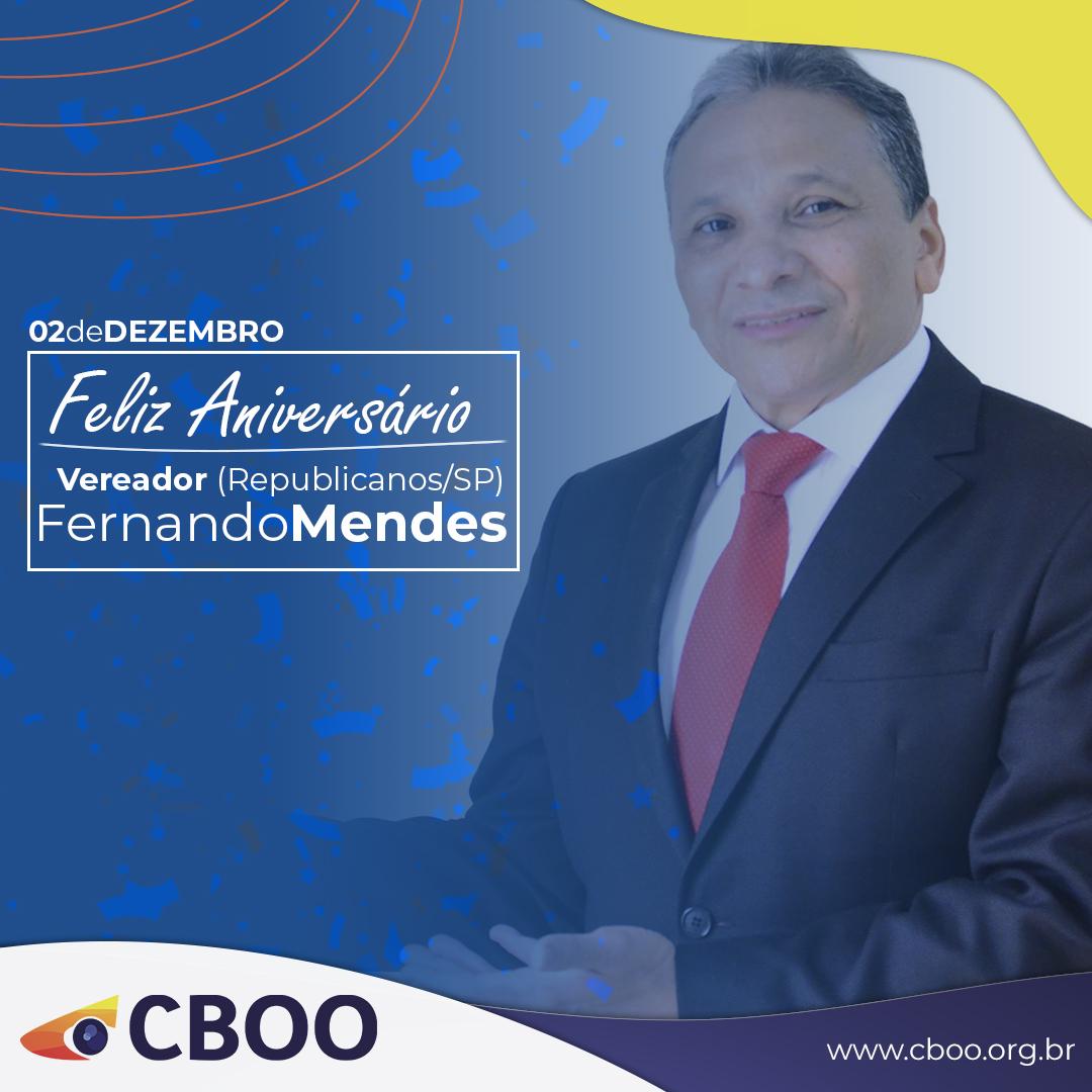 Hoje (02/12) é o aniversário do nosso Vereador Fernando Mendes @republicanossp  Nós do CBOO, em nome dos Optometristas brasileiros, desejamos um FELIZ ANIVERSÁRIO! PARABÉNS e MUITO OBRIGADO pelo trabalho determinado e incansável em prol da Optometria e da saúde visual no Brasil https://t.co/Xd4OHUVhFq