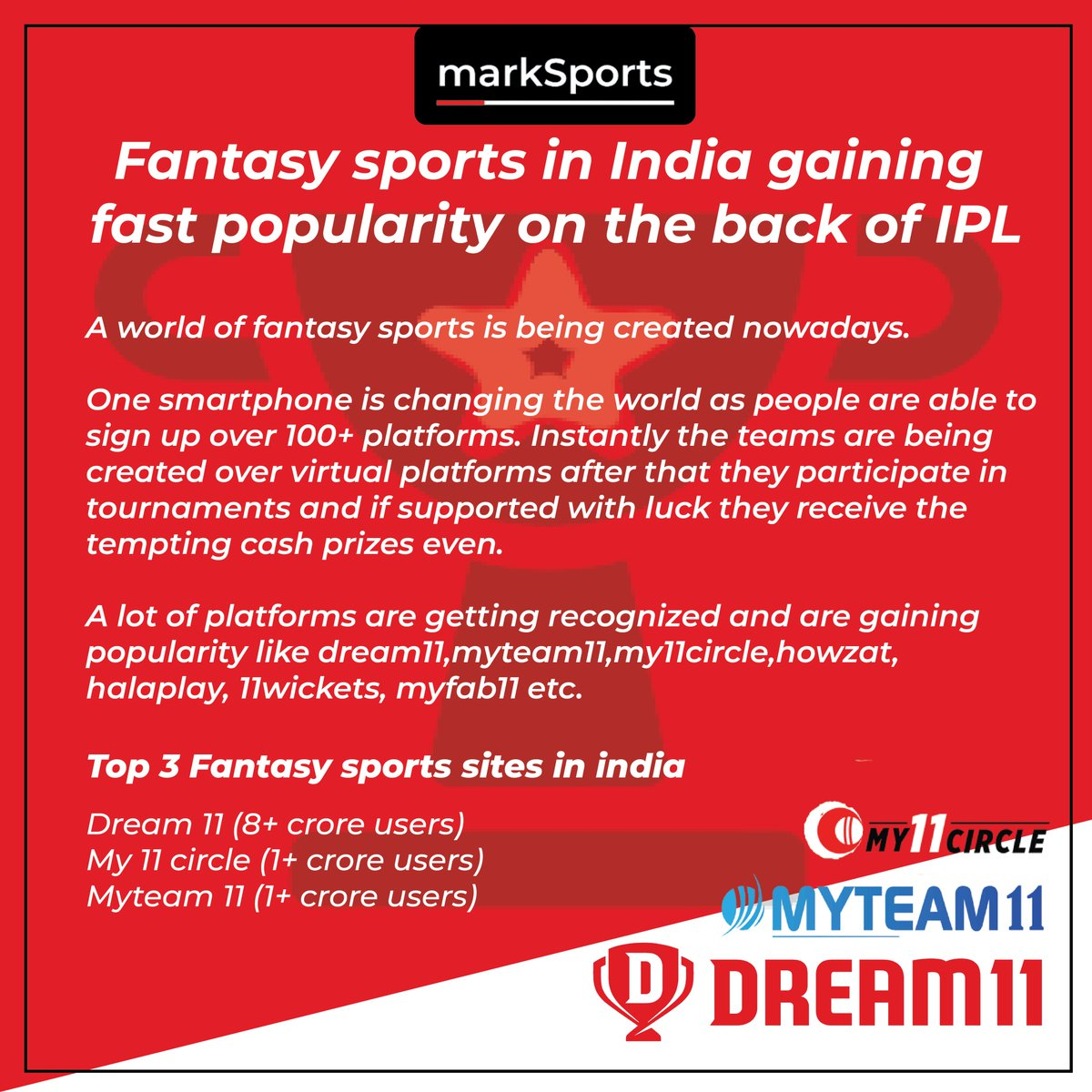 Fantasy sports platforms have strong network effects. More the players, better the rewards. . . . Put your reviews over this..... #FantasyCricket #fantasysports #Dream11 #Dream11IPL  #playerzpot #my11circle #sport #Sportszone #SportsCenter #sportstack #SportsBettingAdvice #sport