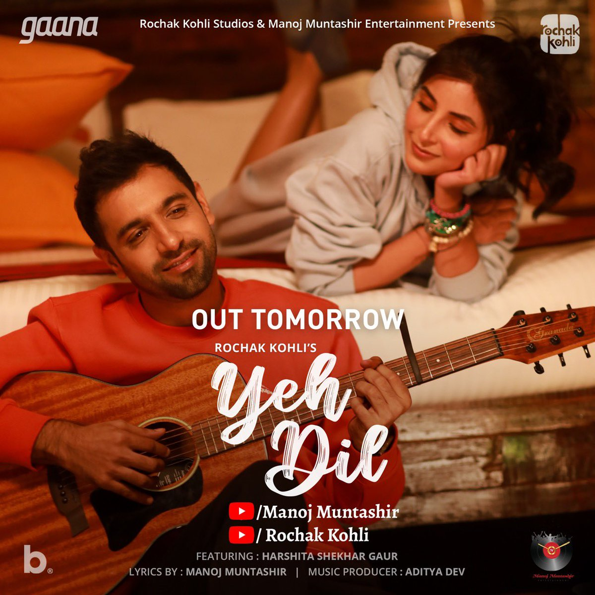 Yeh Dil will be out tomorrow!!! #YehDil #Youtube #ManojMuntashir #RochakKohli