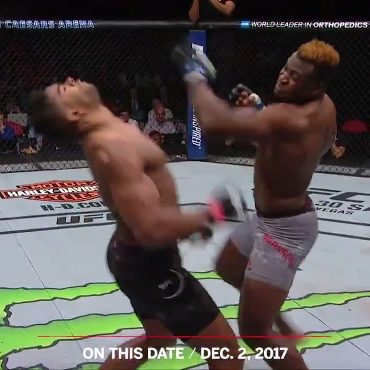 "Three years ago today, @francis_ngannou landed what Alistair Overeem called an ""uppercut from hell"" 😳"