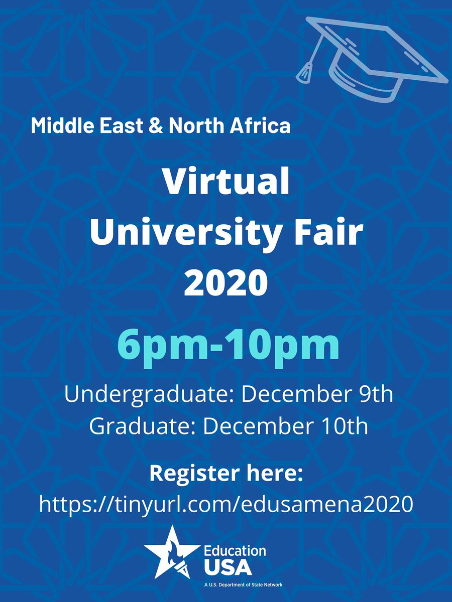 Join the first ever #EducationUSA Virtual #University Fair for the #MiddleEast and #NorthAfrica on Dec 9-10, 2020. Learn about #educational opportunities in the #US, attend live webinars & chat with University #representatives Register here:  @educationusa