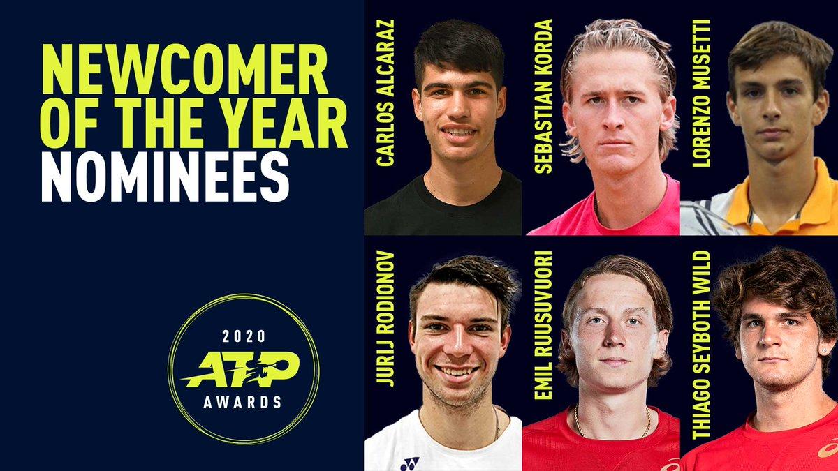Newcomer of the Year Nominees:  🇪🇸 Carlos Alcaraz 🇺🇸 Sebastian Korda 🇮🇹 Lorenzo Musetti 🇦🇹 Jurij Rodionov 🇫🇮 Emil Ruusuvuori 🇧🇷 Thiago Seyboth Wild   #ATPAwards https://t.co/TqDruhcYhJ