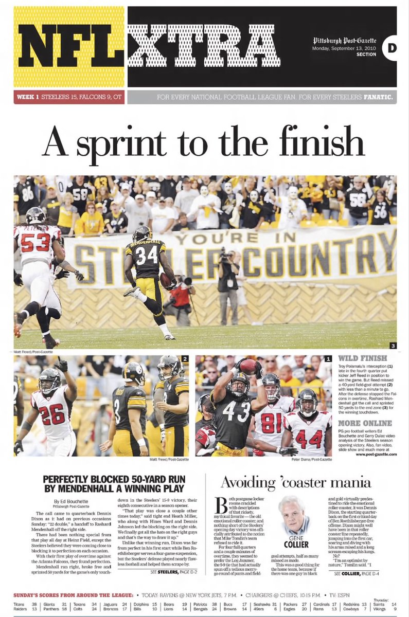 CHOICE #4 (9/12/10): #Steelers open season with 15-9 overtime win over #Falcons. #HereWeGo