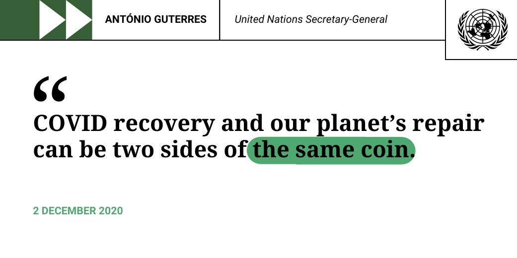 We have a chance to not simply reset the world economy but to transform it. A sustainable economy driven by renewable energies will create new jobs, cleaner infrastructure & a resilient future. -- @antonioguterres calls for #ClimateAction. bit.ly/36vSOFt