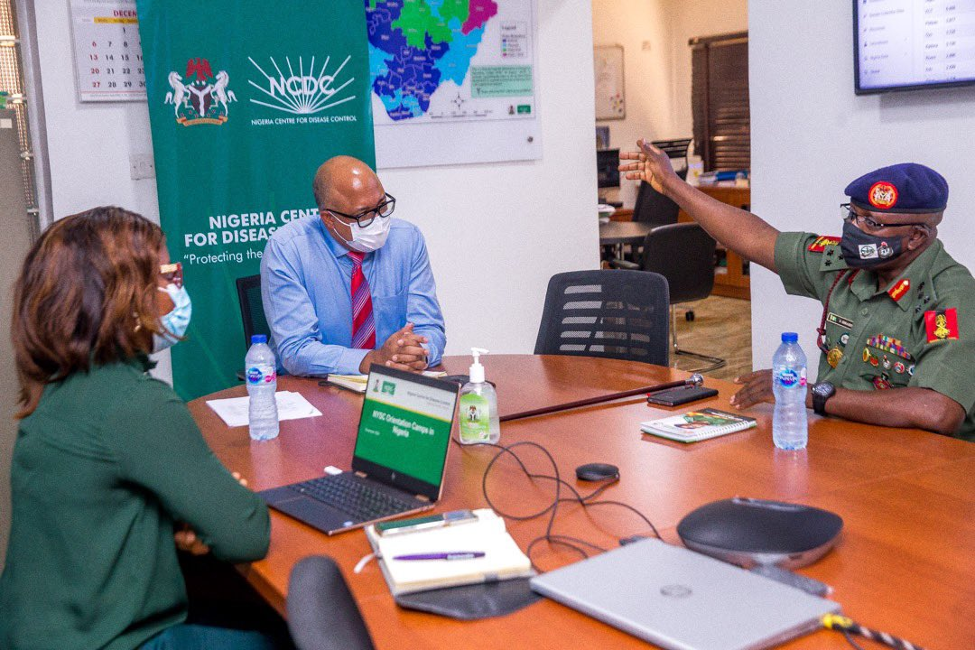 Today, we hosted the @officialnyscng Director General, Brig.Gen. Ibrahim, on a courtesy visit to NCDC HQ We're committed to building on lessons learnt during the safe reopening of orientation camps for Batch A-Stream 1, to ensure continuous safety of corps members and officials