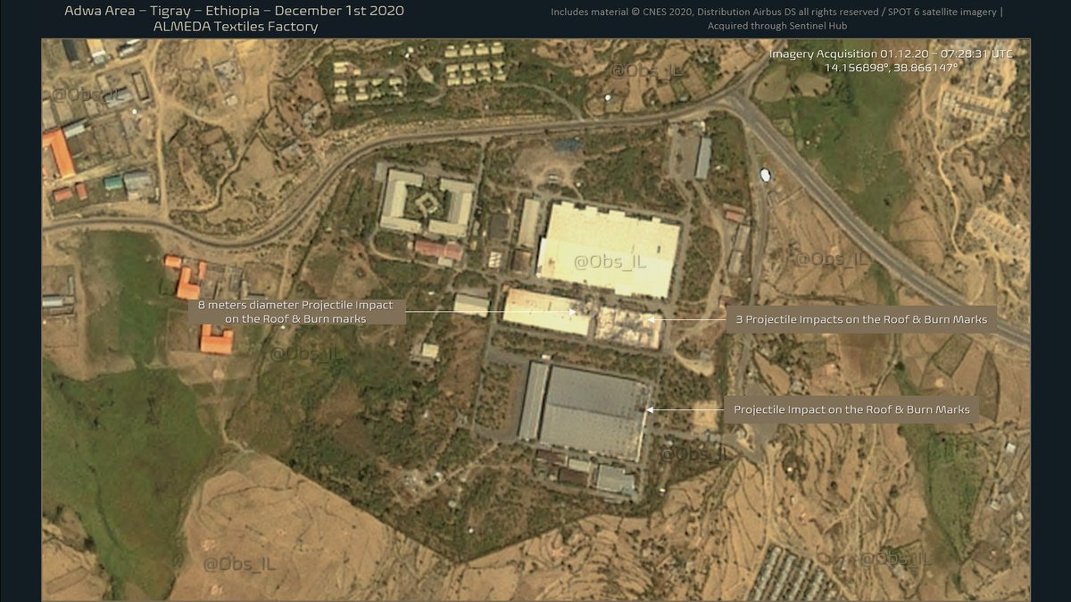 Confirmation of substantial damages sustained at #Almeda Textiles Factory West of #Adwa #Tigray #Ethiopia. Multiple projectile impacts and subsequent burn marks on the metal roof structures here seen on Satellite Imagery from December 1st 2020. #IMIMT https://t.co/8uZmnXb4tA https://t.co/3EvqELPRGJ