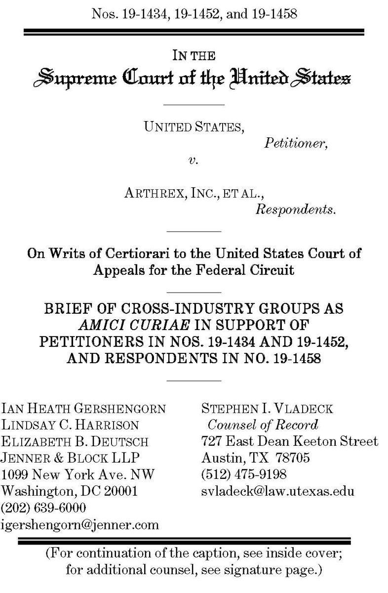 Just filed at #SCOTUS: New amicus brief with @JennerBlockLLP on why the history and goals of patent reform underscore why administrative patent judges are inferior officers, on behalf of @actonline; @InternetAssn; @NRFnews; @SIIA; and @U4PatentReform: supremecourt.gov/DocketPDF/19/1…