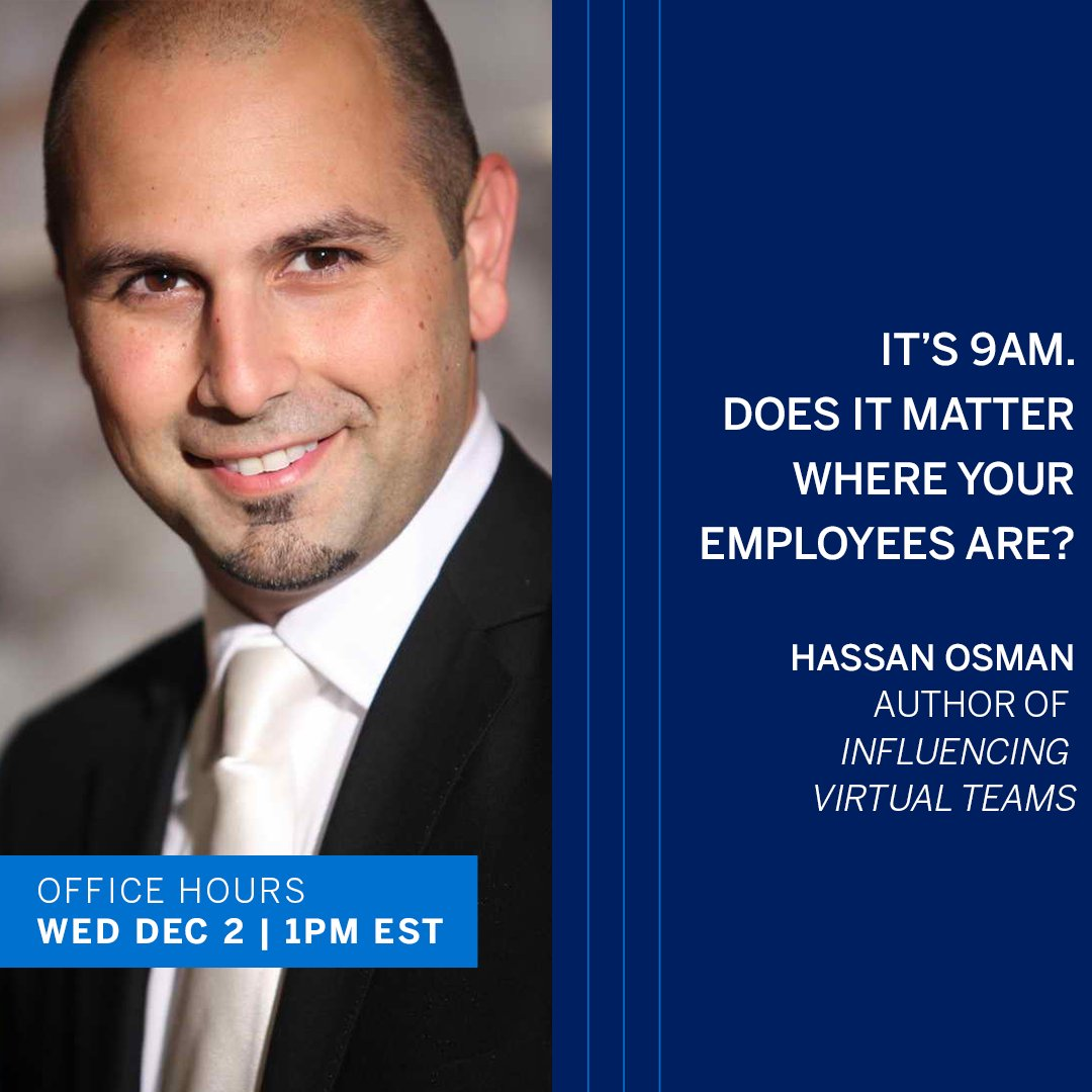Can teams be distributed AND committed? We ask author of Influencing Virtual Teams @HassanO today, Wed. December 2nd at 1PM EST. He talks with host @jjramberg on #AmexBusiness Office Hours, live on LinkedIn: