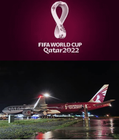 Qatar Airways recently celebrated #2YearsToGo milestone with the newly-unveiled #QatarAirways FIFA World Cup Qatar 2022 Boeing 777 aircraft. Painted at the IAC facility in Shannon, Ireland.   #IAC  #FIFA2022WorldCup  #Shannonairport #iamiac