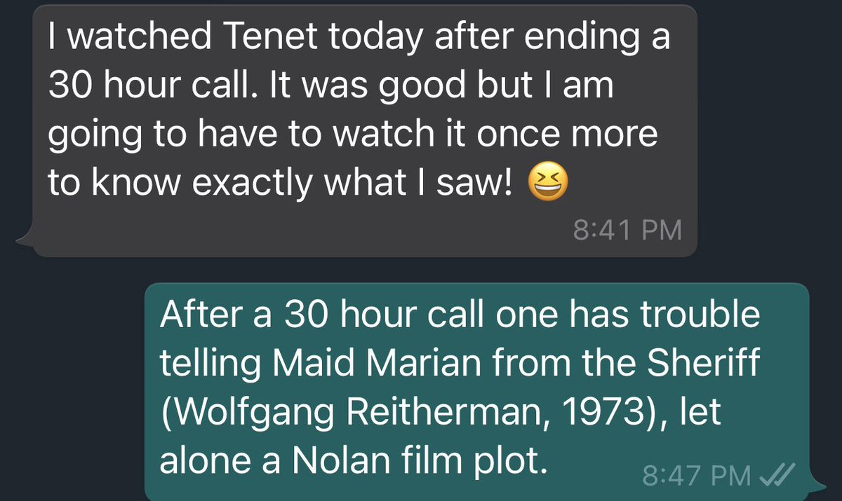 """What a ward call does to your """"neural apparatus"""" with work by #ChristopherNolan as a yardstick, in this case #Tenet  #doctors #postcall #wardduties #Hardwork #oncall"""