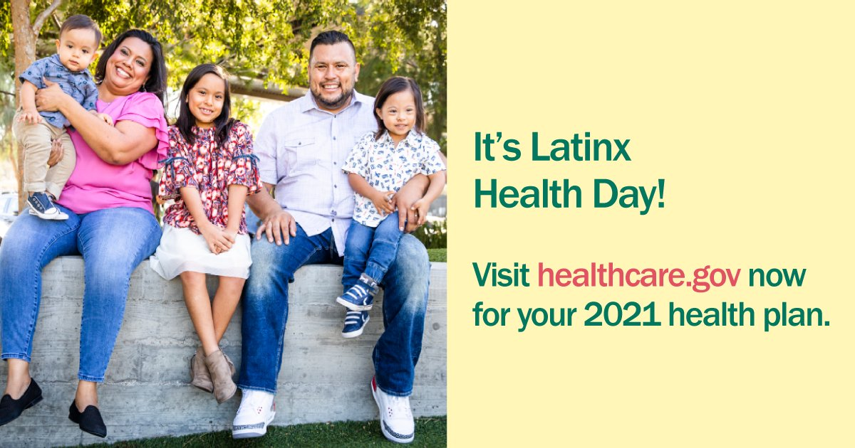 It's Latinx Health Day! And what better opportunity to remind our community of the importance of healthcare. Thanks to the #ACA, 4M Latinos have gained access to quality, affordable health coverage. Don't delay & #GetCovered today. Visit https://t.co/6Nrp6uXFZo for more. https://t.co/62KtjIy55X
