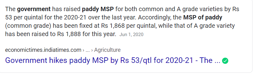 News is significant for many reasons: 1) China is buying rice from India after 30 yrs! 2) Farmers get Rs 18,680 per ton (or $256) if they sell at MSP 3) Farmers get Rs 21,900 per ton (or $300) if they export.  That's a neat +17% at FOB! #AntiFarmerBJP eh? https://t.co/UnO9UZIlym https://t.co/mLjuNKrG9m