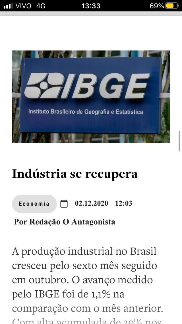 Brasil dando a virada na crise! IBGE diz que produção industrial cresceu pelo 6º mês seguido em outubro. Avanço de 1,1% em relação ao mês anterior. Com a alta acumulada de 39% nos últimos 6 meses, o setor conseguiu retornar aos níveis pré-pandemia!!! Parabéns PR @jairbolsonaro! https://t.co/02NFwUaEaM