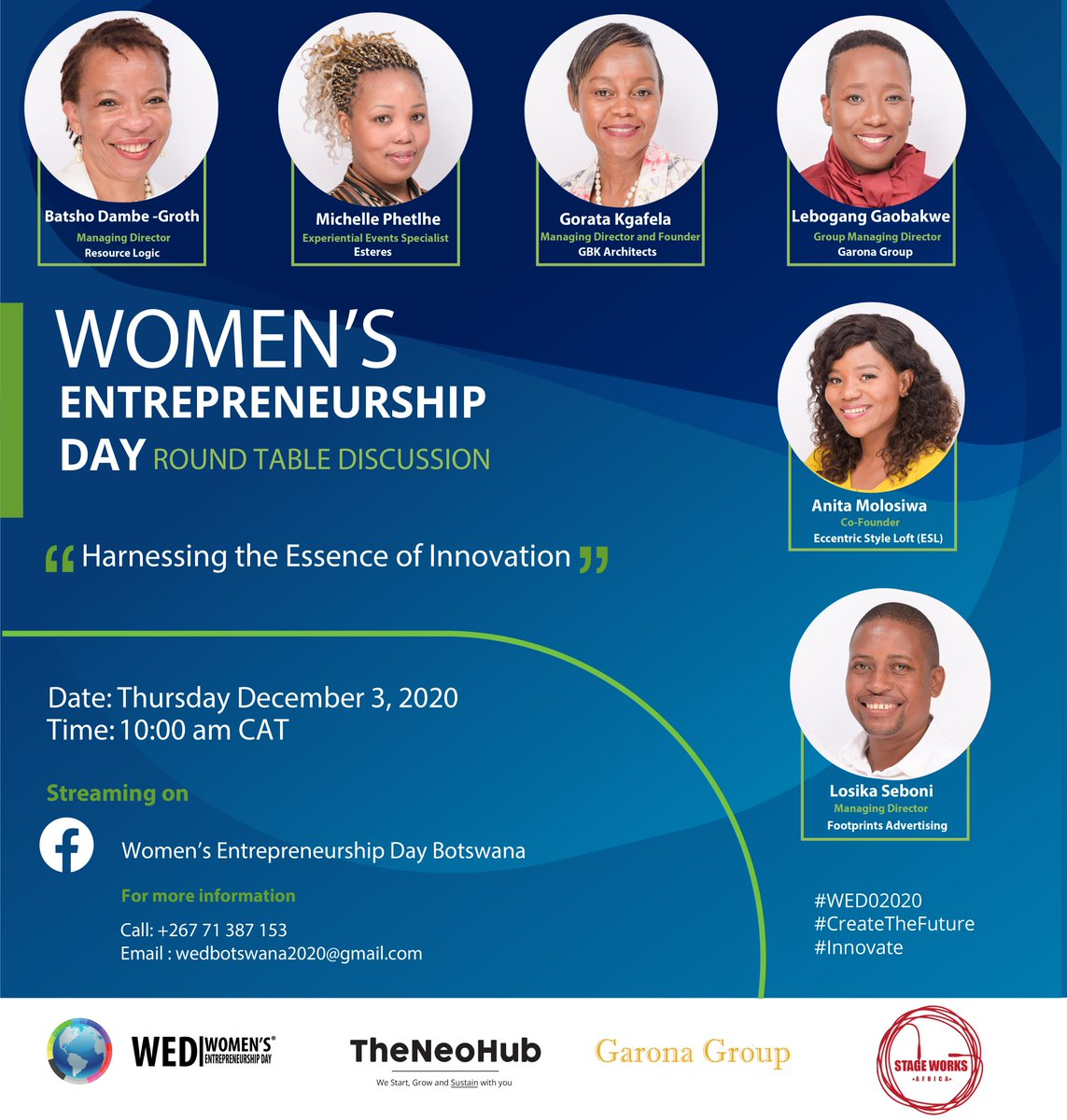 Thursday 3rd December on #womensentrepreneurshipday we celebrate industry captains. Join us as we engage with these inspiring women entrepreneurs. #WEDO2020  #CreateTheFuture  #innovate