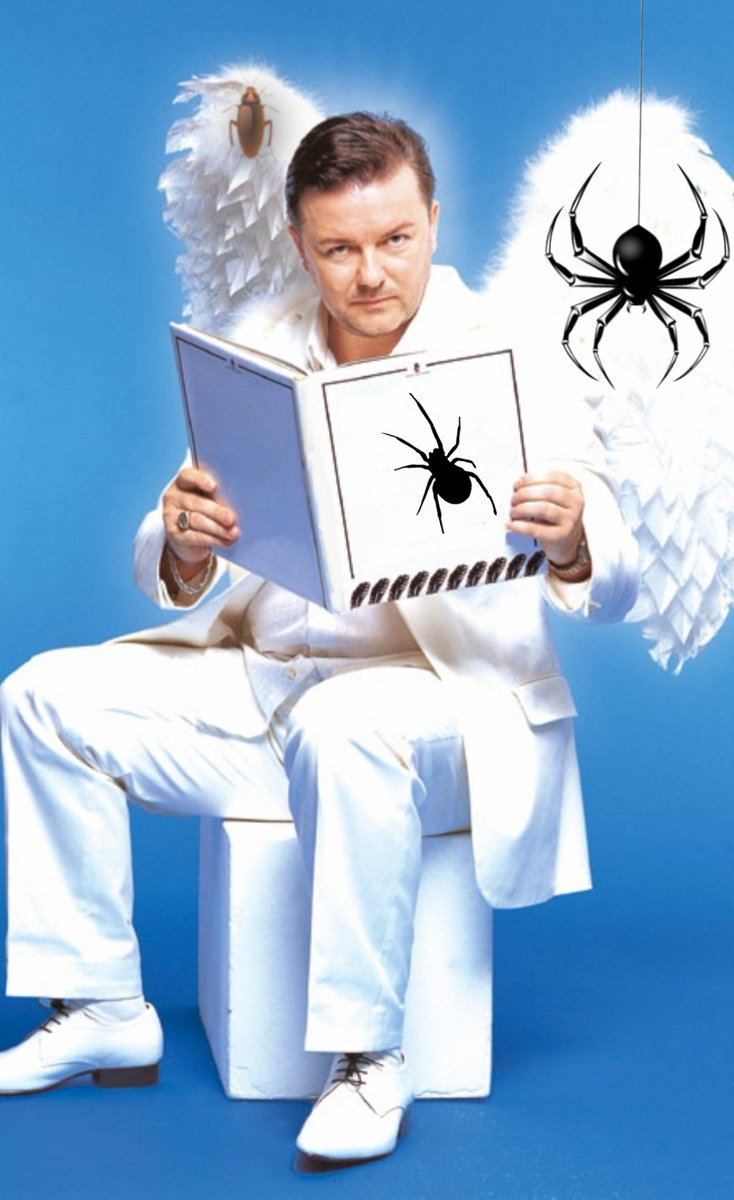 Hello @rickygervais  You woke up and find yourself an angel, and you can be spider or cockroach, who would you choose?  #rickysbollocks