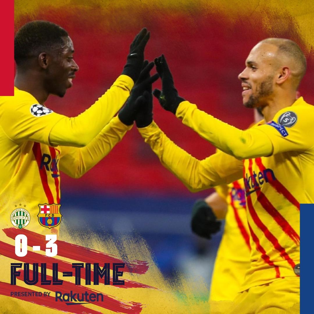 ⏰ ¡Final del partido! 💪 #FerencvarosBarça (0-3) ⚽ Griezmann, Braithwaite & Dembélé 🔵🔴 #ForçaBarça