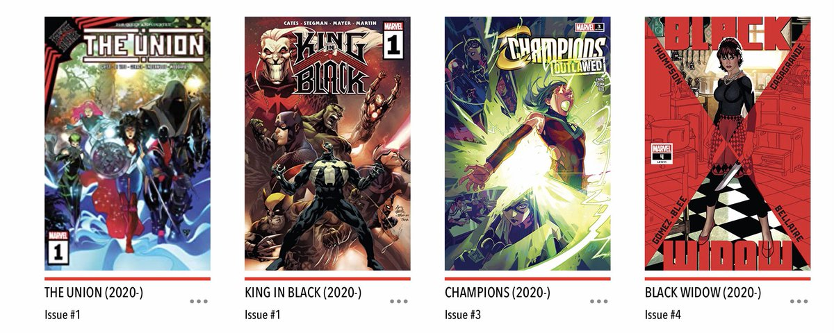 It's Wednesday! Not sure where time went - possibly creating my weird dinner (coffee pasta, ricotta, strawberry mint & chilli sauce, & peas. Weird but tasty). But it's still #NCBD and it was a great one! My #MarvelsPullList was #Champions #KingInBlack #TheUnion and #BlackWidow!