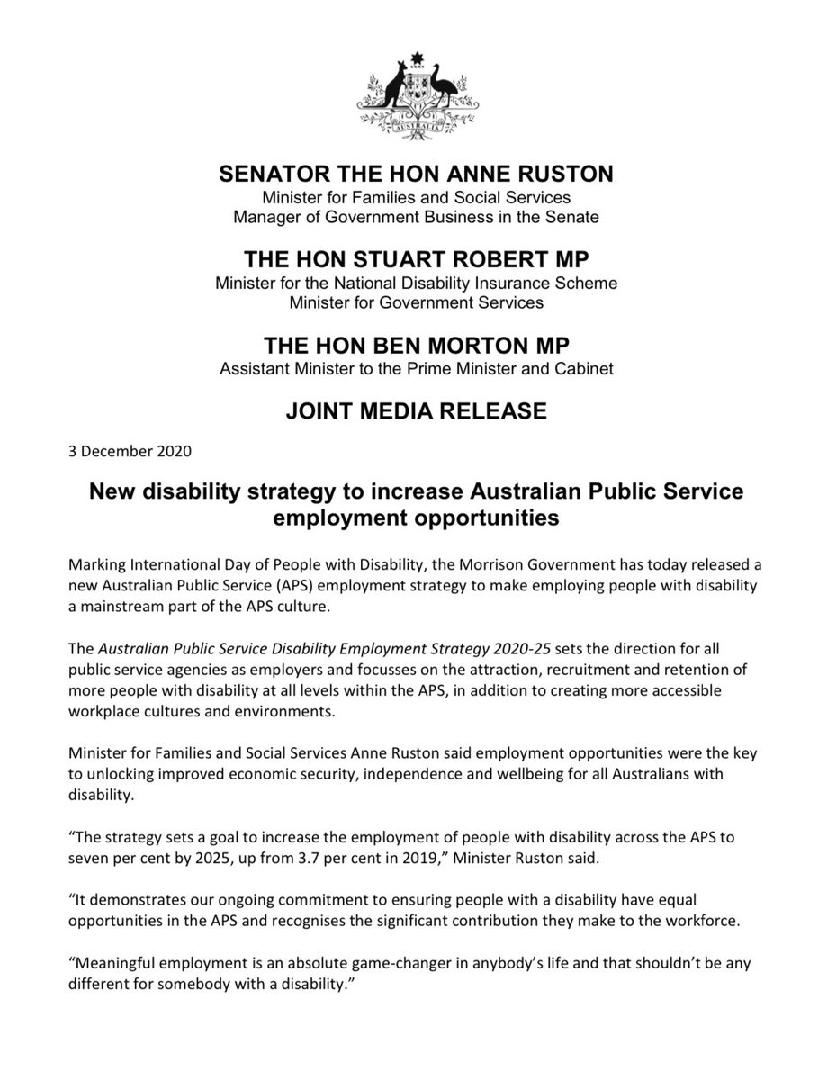Today we have announced a new strategy to make employing people with disability a mainstream part of the APS culture. It demonstrates our ongoing commitment to ensuring people with disability have equal opportunities and recognises their significant contribution to the workforce.