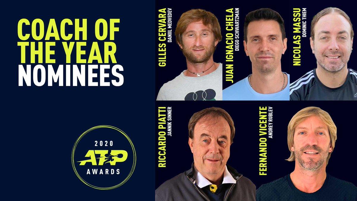 Coach of the Year Nominees:  Gilles Cervara (Medvedev) Juan Ignacio Chela (Schwartzman) Nicolas Massu (Thiem) Riccardo Piatti (Sinner) Fernando Vicente (Rublev)  #ATPAwards https://t.co/zgTyCb9Neg