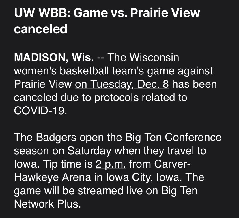 Another canceled game on the books. #Badgers
