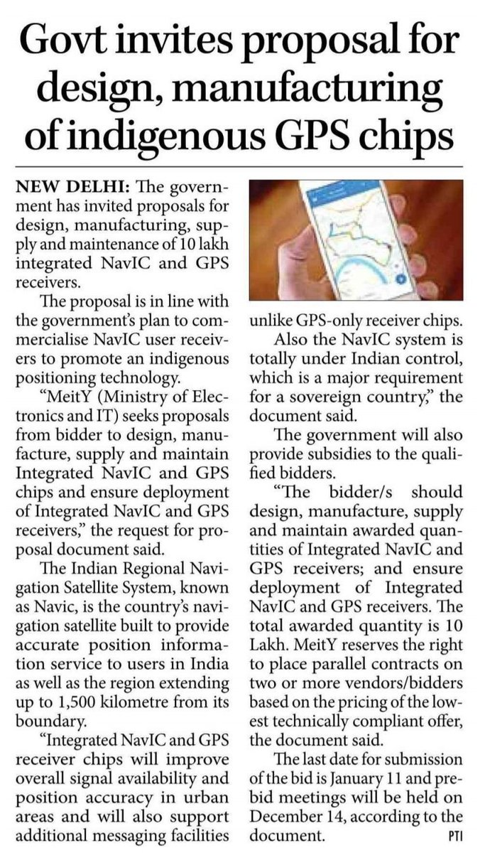 .@GoI_MeitY is inviting proposals for design, manufacturing, supply and maintenance of 10 lakh integrated NavIC and GPS receivers in the country. #AatmaNirbharBharat
