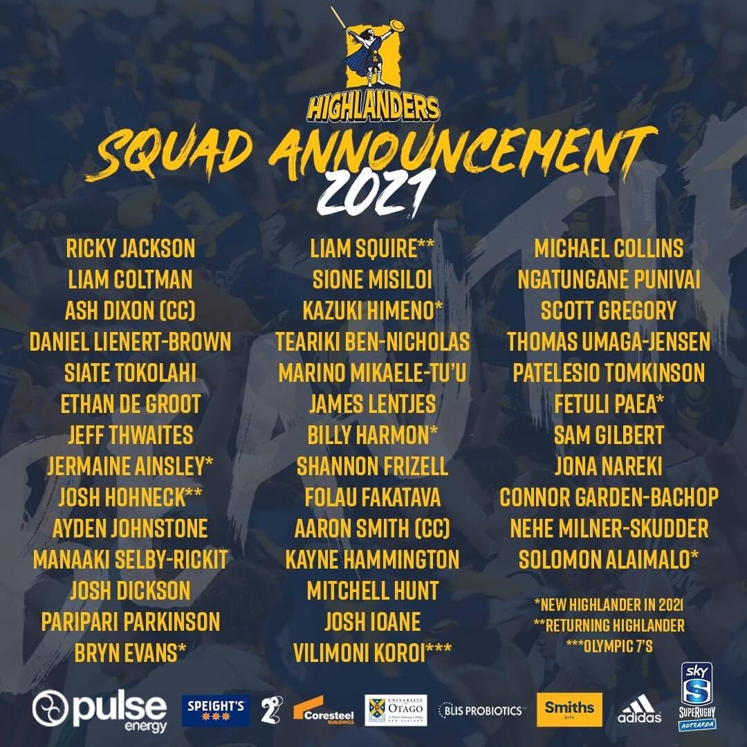🚨 2021 Squad Announcement 🚨  Here is your Pulse Energy Highlanders 39-man squad to take on the best from NZ and Australia ⚡  Don't miss any of the action - Secure your Club Membership for all six home games!   Full Release: https://t.co/4TGvNo1QJp  #WeAreHighlanders https://t.co/wsLQmOKWay