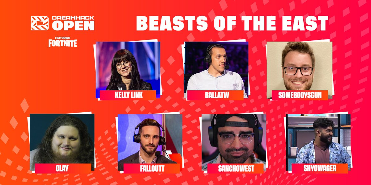 Say hello to the talent for NA East! 🥳  🔹 @HelloKellyLink 🔹 @Ballatw 🔹 @somebodysgun 🔹 @claystehling 🔹 @Falloutt 🔹 @SanchoWest 🔹 @ShyoWager  📝  | #DHFNOpen